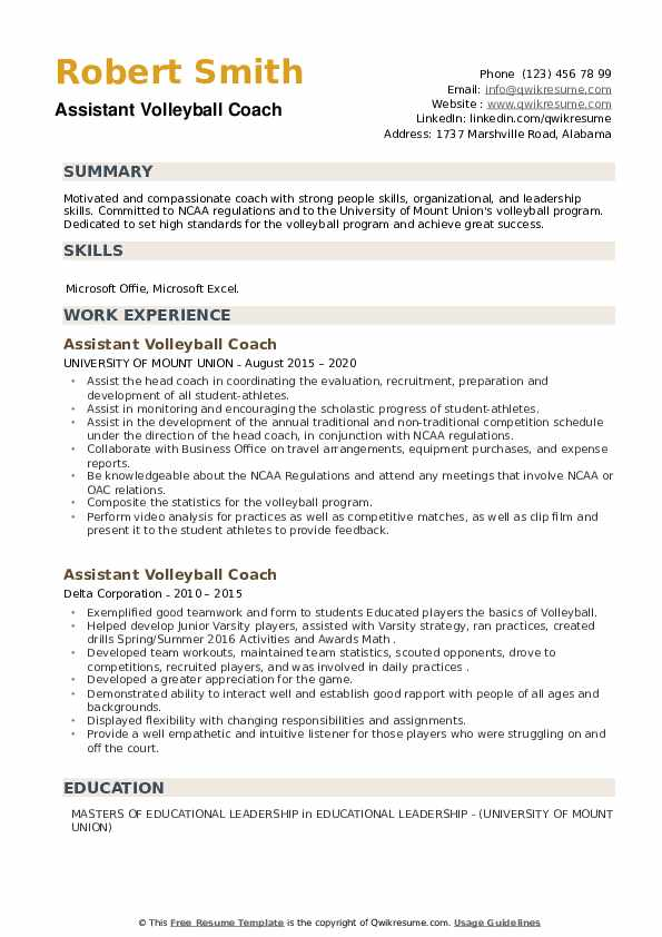 Assistant Volleyball Coach Resume example