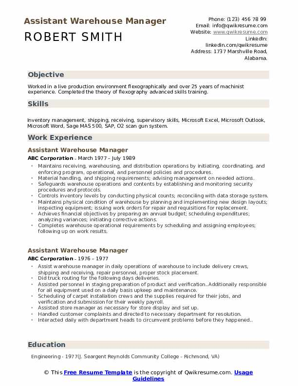 Assistant Warehouse Manager Resume Model