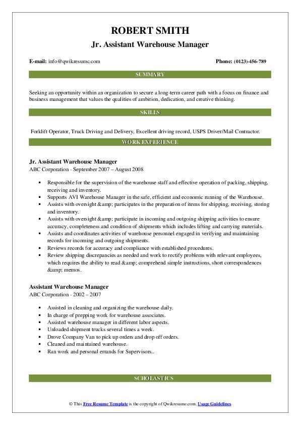 Jr. Assistant Warehouse Manager Resume Format