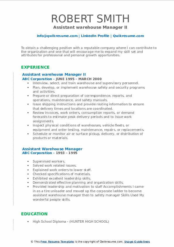 Assistant warehouse Manager II Resume Model