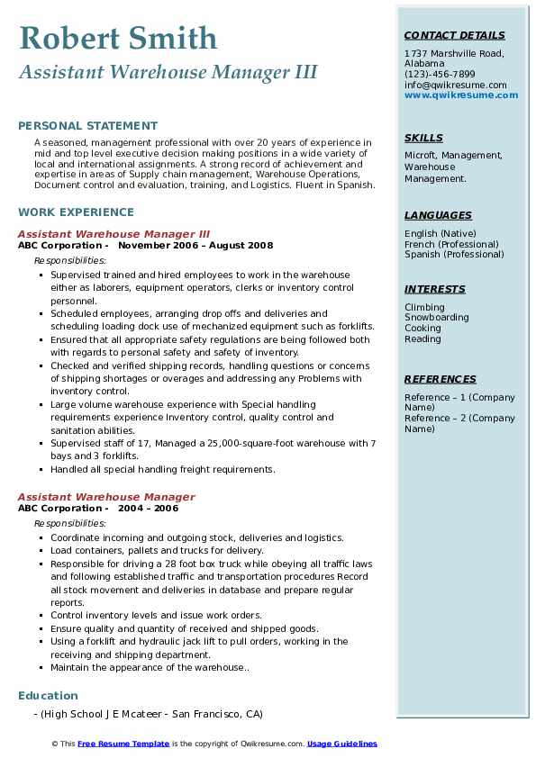 Assistant Warehouse Manager III Resume Template