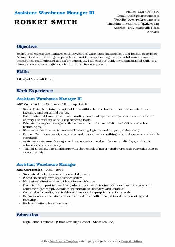 Assistant Warehouse Manager III Resume Sample