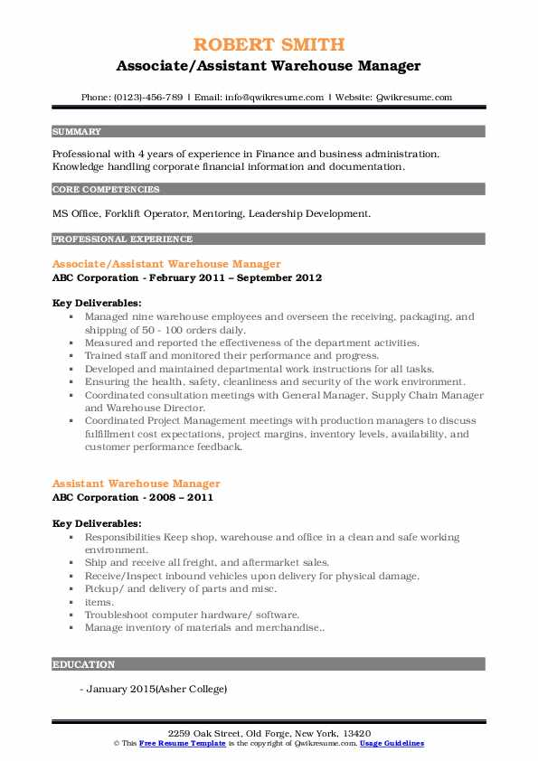 Associate/Assistant Warehouse Manager Resume Sample