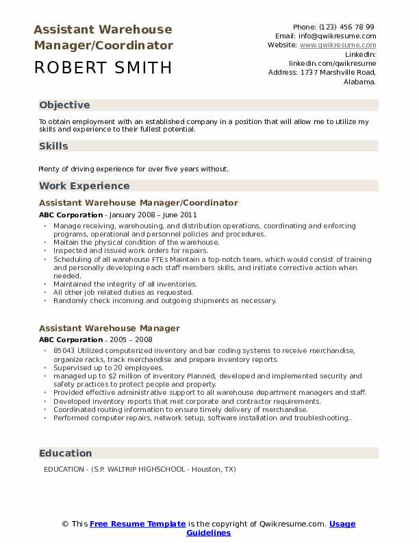 Assistant Warehouse Manager/Coordinator Resume Format