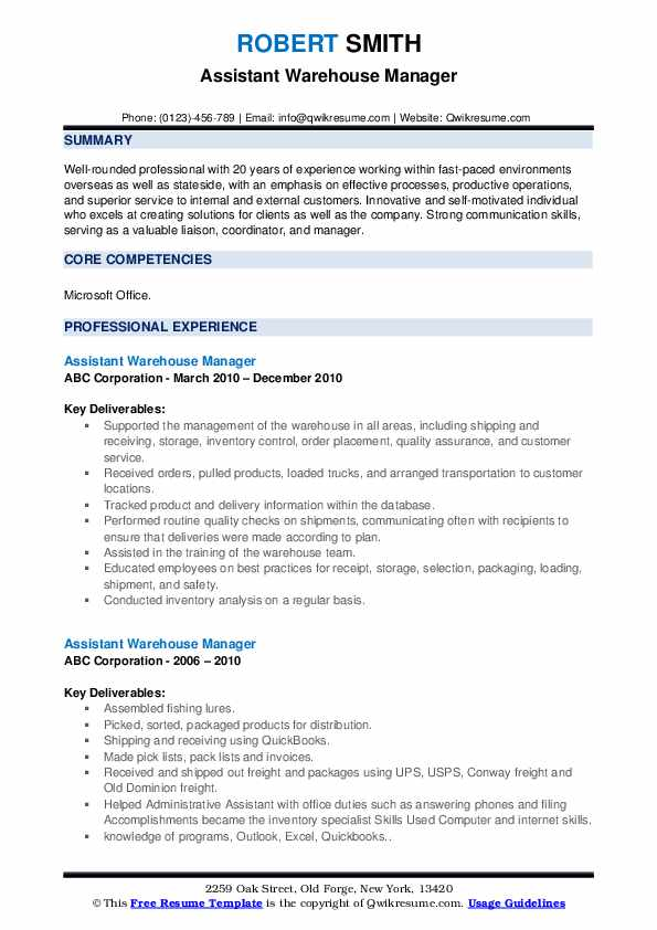 Assistant Warehouse Manager Resume example