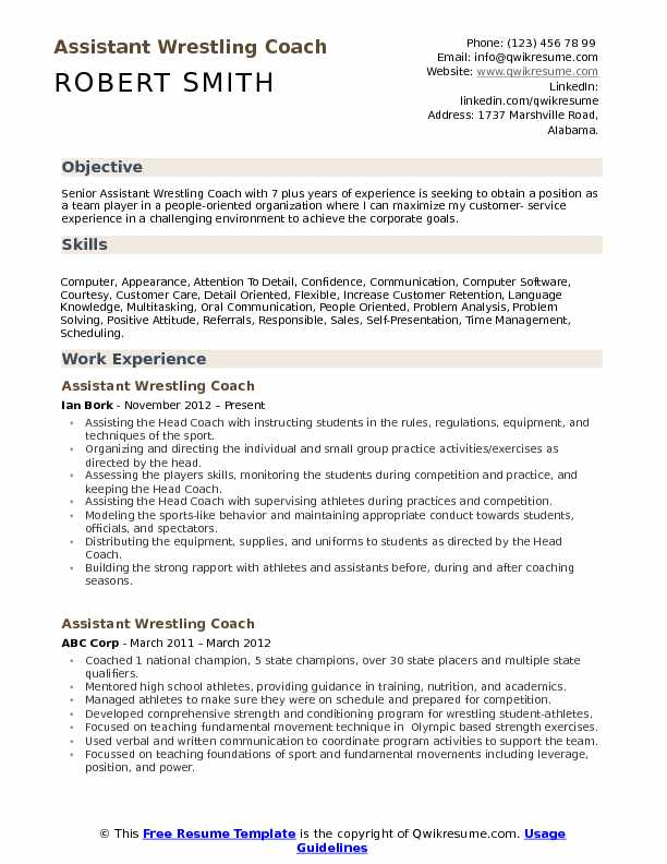 Assistant Wrestling Coach Resume Example