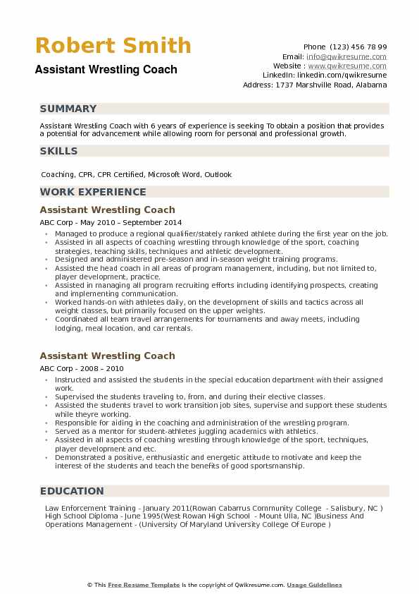 assistant wrestling coach resume samples