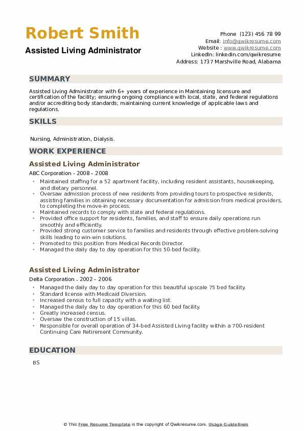 Assisted Living Administrator Resume example