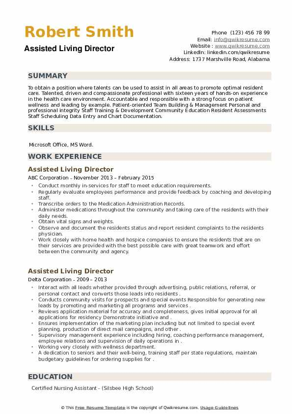 Assisted Living Director Resume example