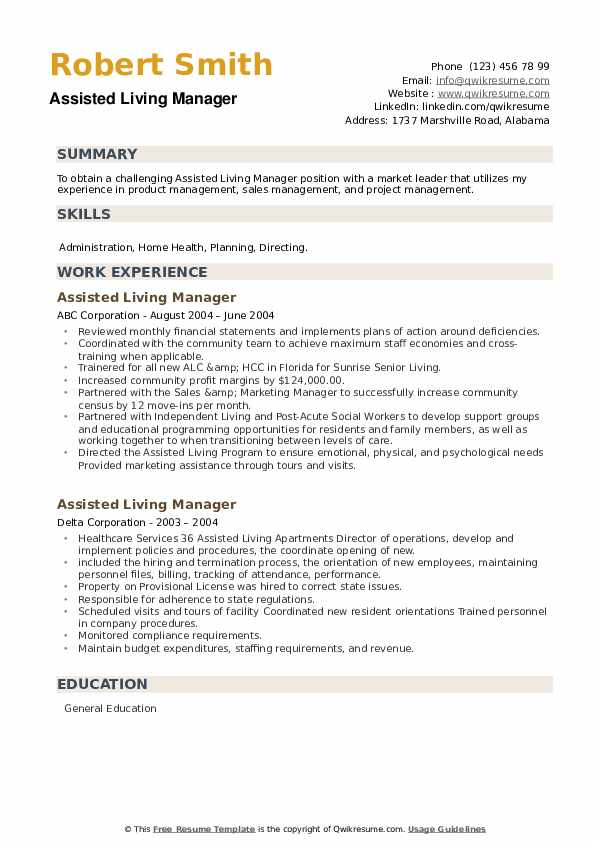 Assisted Living Manager Resume example