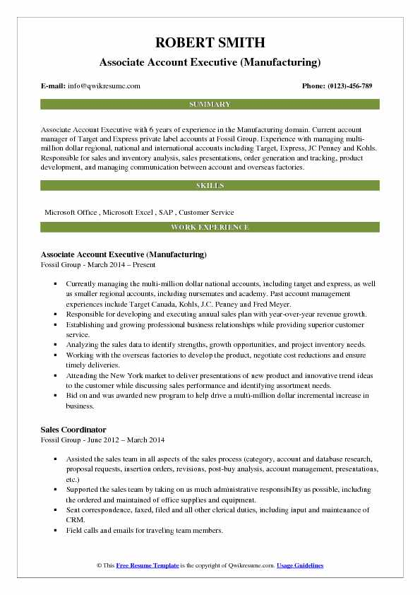 Associate Account Executive (Manufacturing) Resume Format