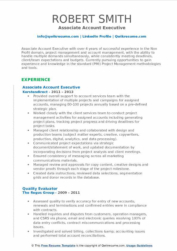 associate account executive resume samples