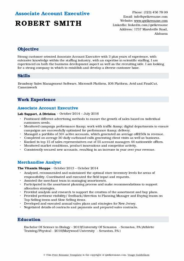 Associate Account Executive Resume Sample