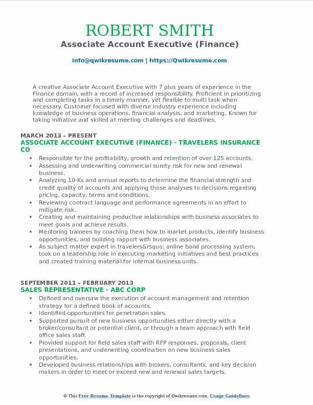 Associate Account Executive (Finance) Resume Template