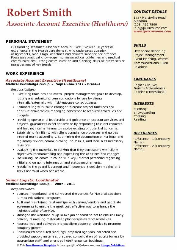 Associate Account Executive (Healthcare) Resume Example