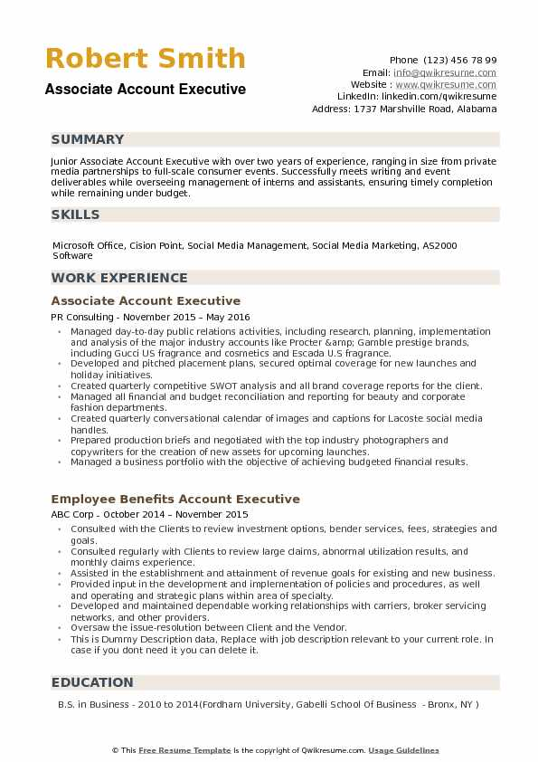 Associate Account Executive Resume example