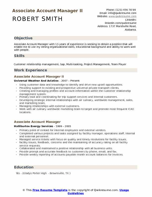 Associate Account Manager Resume Samples Qwikresume