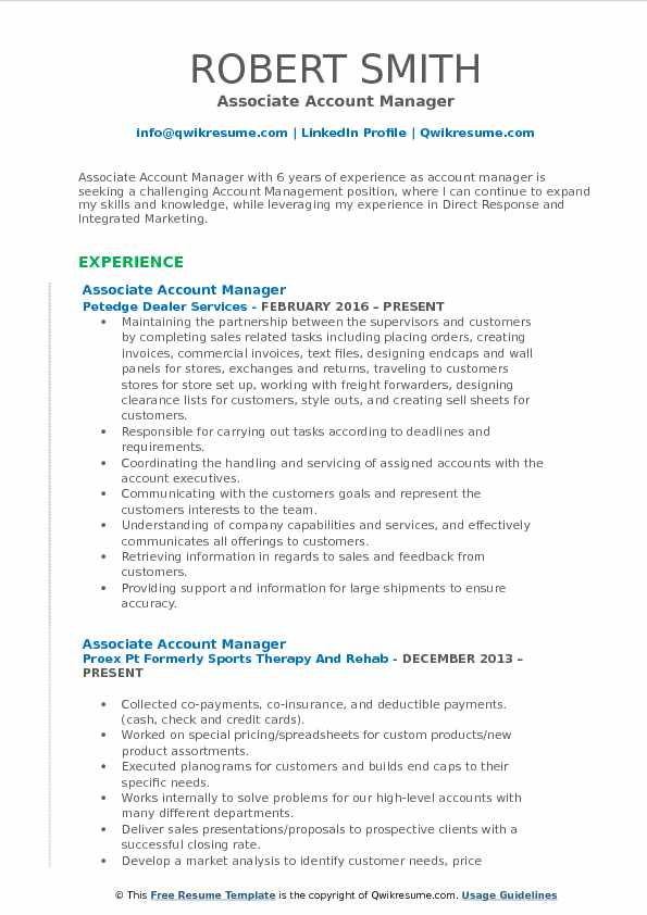 Associate Account Manager Resume Format