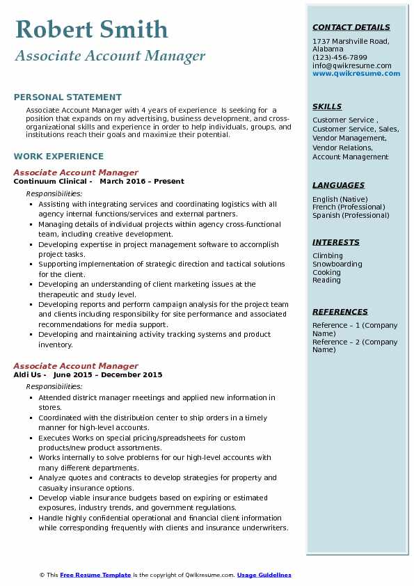 Associate Account Manager Resume Sample