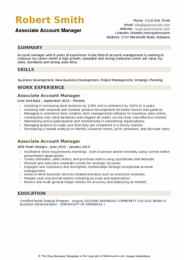 Associate Account Manager Resume Example