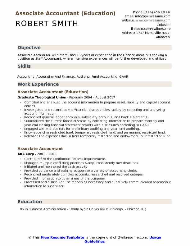 Associate Accountant (Education) Resume Example