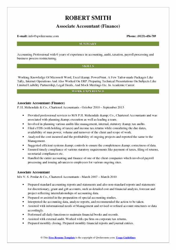 Associate Accountant (Finance) Resume Format