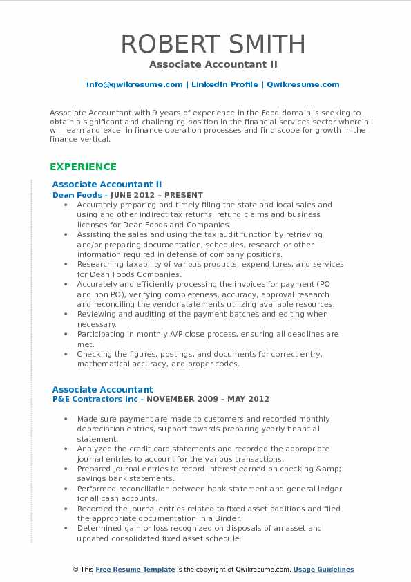 Associate Accountant II Resume Format