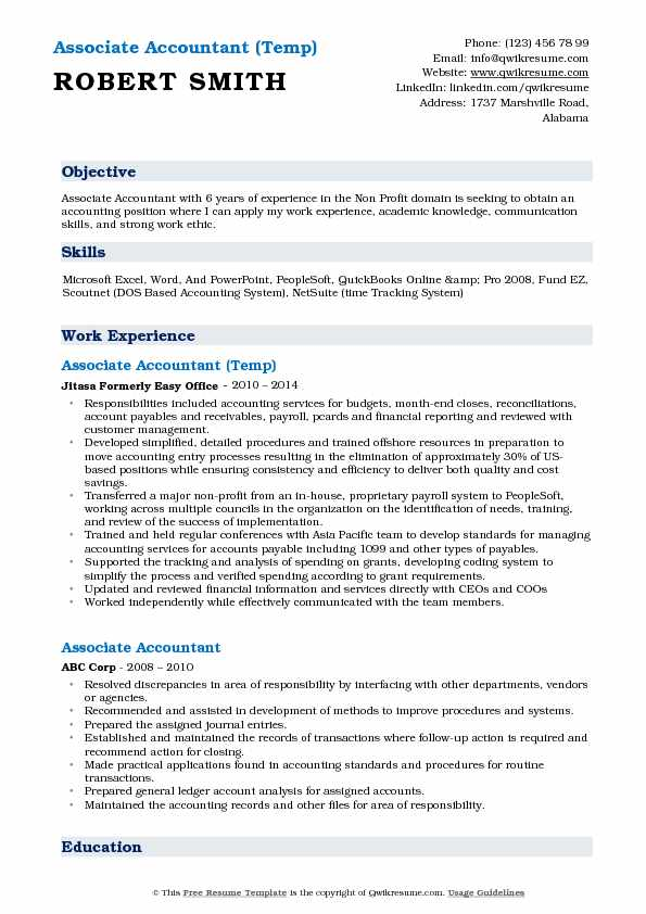 Associate Accountant (Temp) Resume Example
