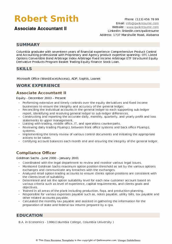 Associate Accountant II Resume Template