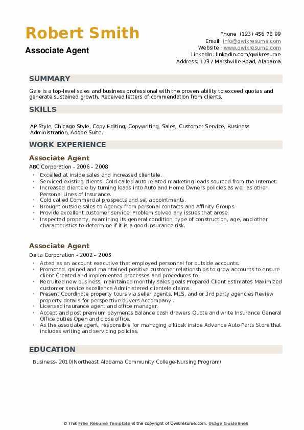 Associate Agent Resume example