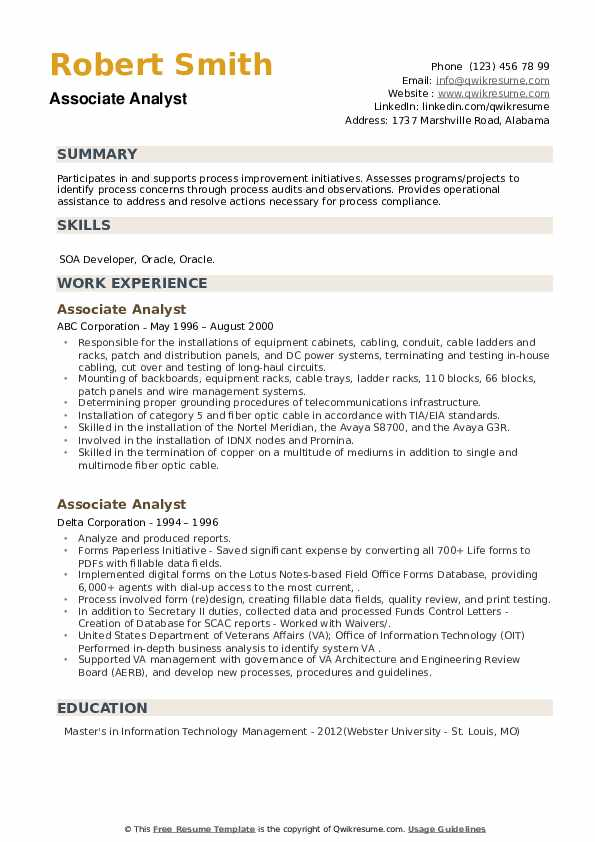 Associate Analyst Resume example