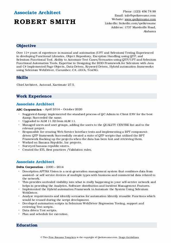 associate architect resume samples  qwikresume