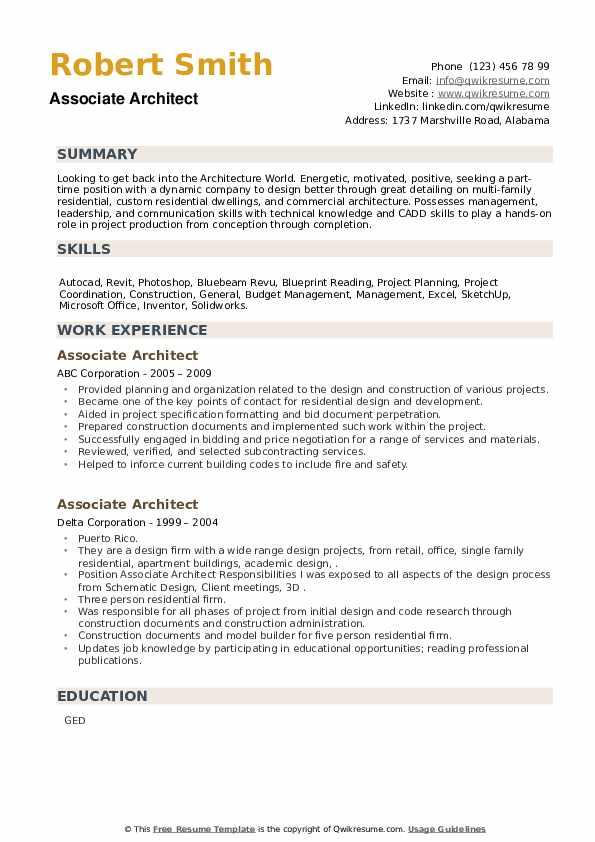 Associate Architect Resume example
