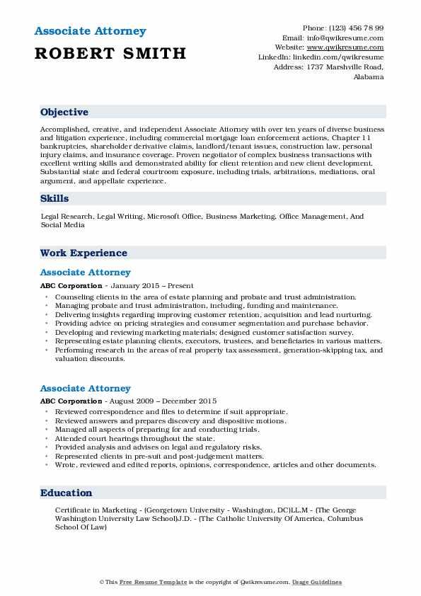 associate attorney resume samples