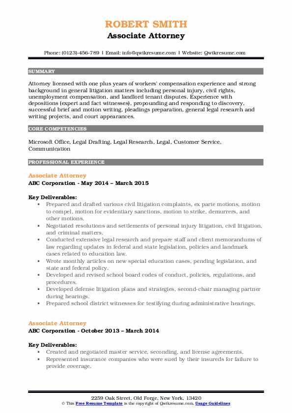 Associate Attorney Resume Samples | QwikResume