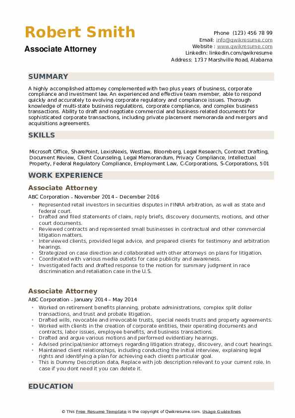 Associate Attorney Resume Samples | QwikResume