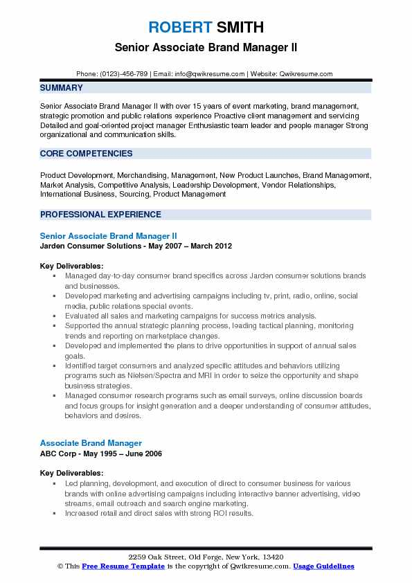 Senior Associate Brand Manager II Resume Model