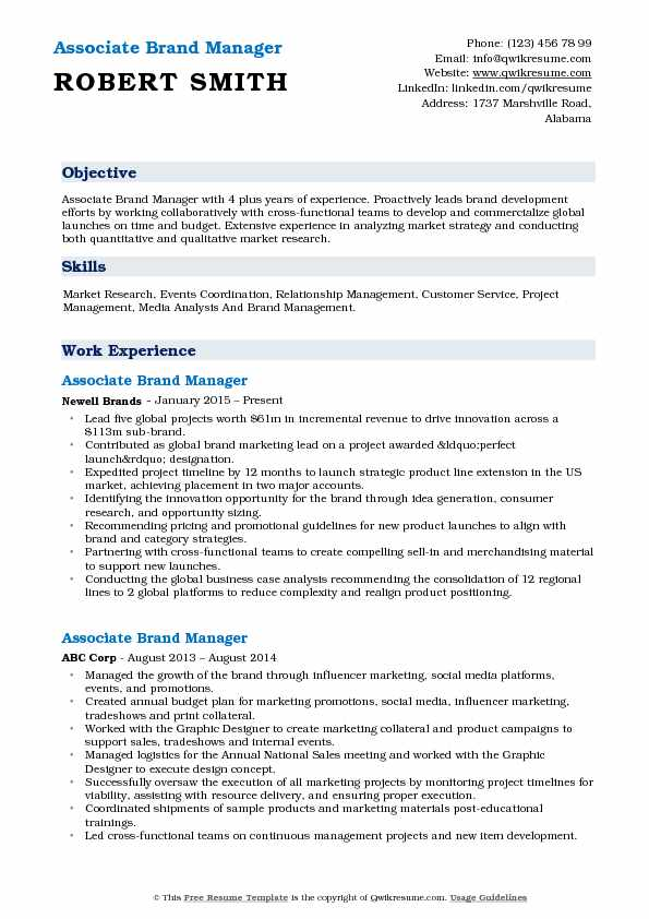 Associate Brand Manager Resume Sample