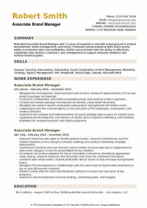 Associate Brand Manager Resume Samples | QwikResume