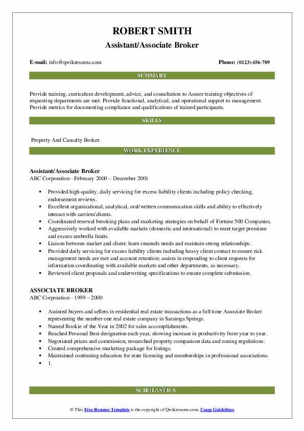 Assistant/Associate Broker Resume Model