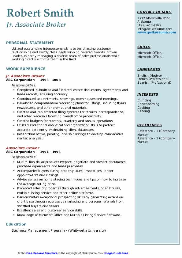 Jr. Associate Broker Resume Example