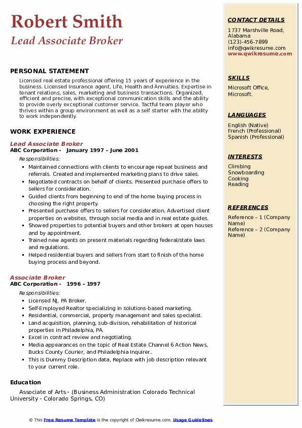 Lead Associate Broker Resume Example