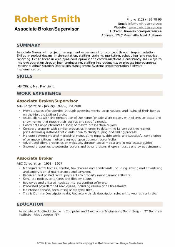 Associate Broker/Supervisor Resume Format