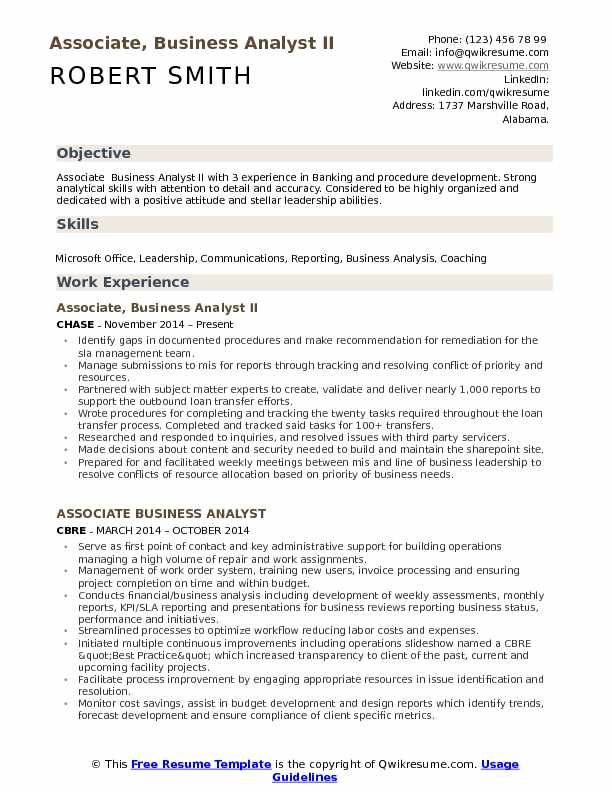 Associate, Business Analyst II Resume Model