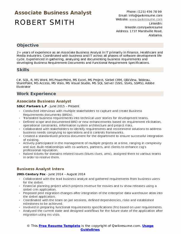Associate Business Analyst Resume Example