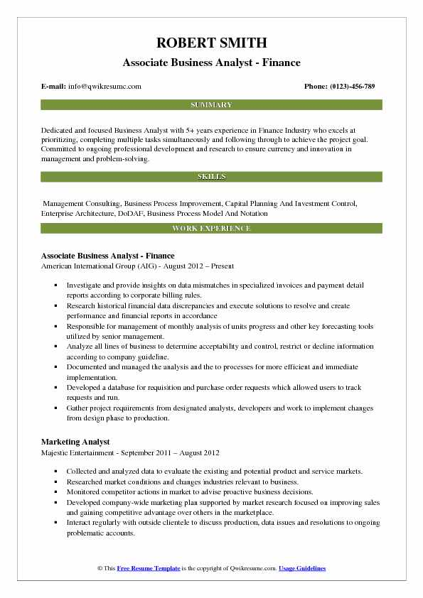 Associate Business Analyst - Finance Resume Model
