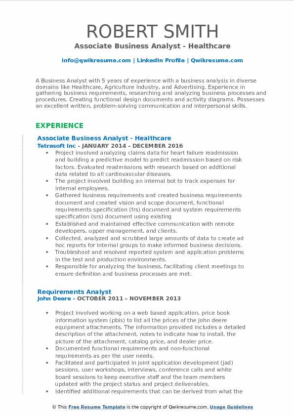 Associate Business Analyst - Healthcare Resume Example