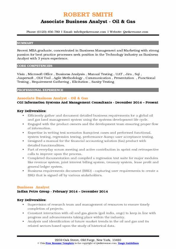 Associate Business Analyst - Oil & Gas Resume Format