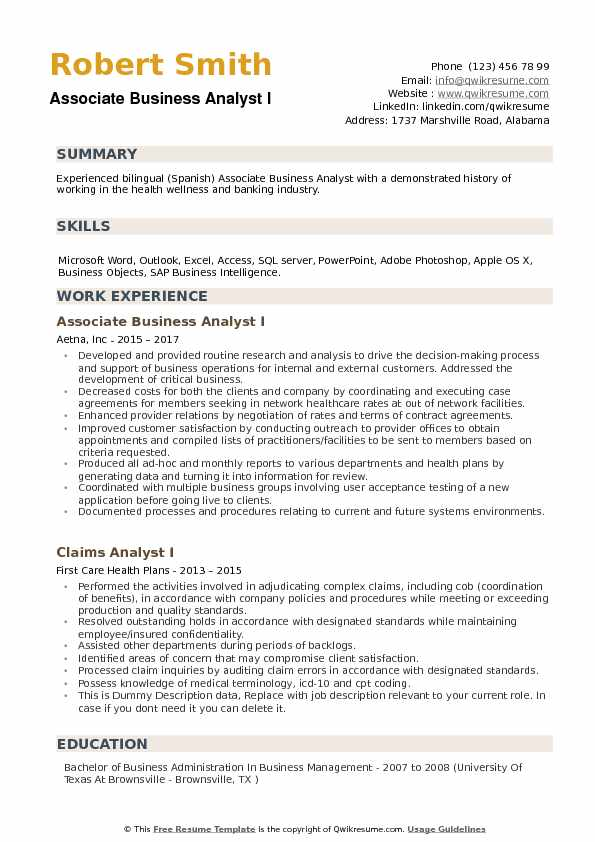 Associate Business Analyst I Resume Example