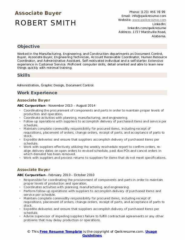 Associate Buyer Resume Format